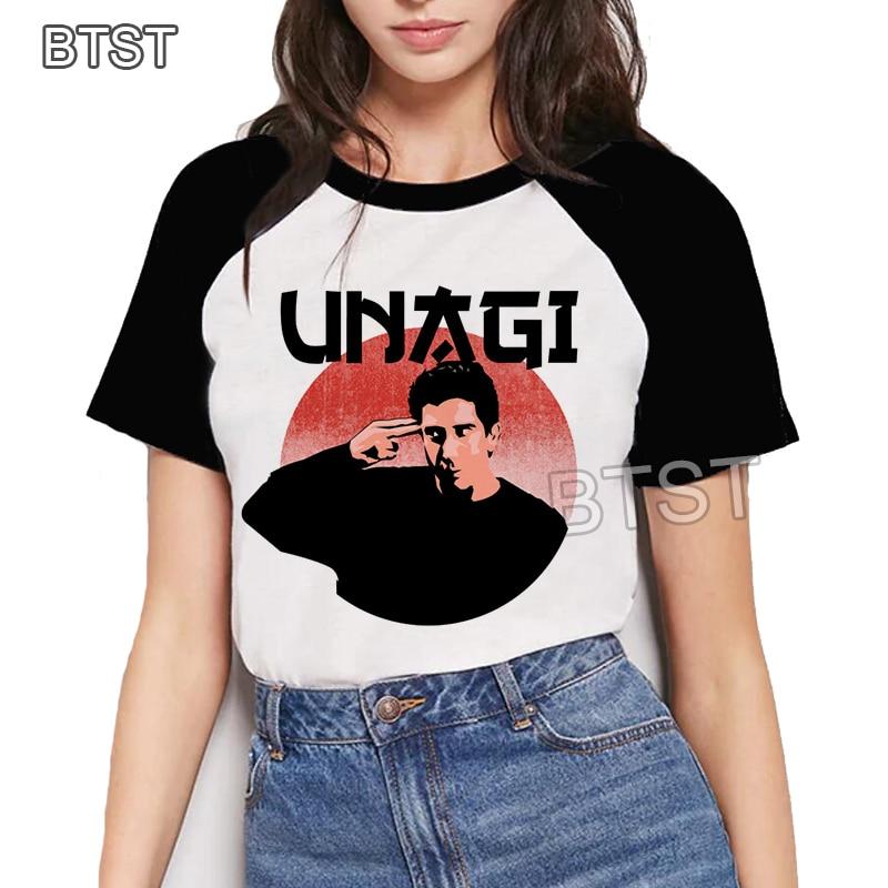 Harajuku Kawaii Unagi Dojo Ross de Friends Tv ropa coreana divertida camiseta 90s Casual camiseta Streetwear verano ropa de pareja