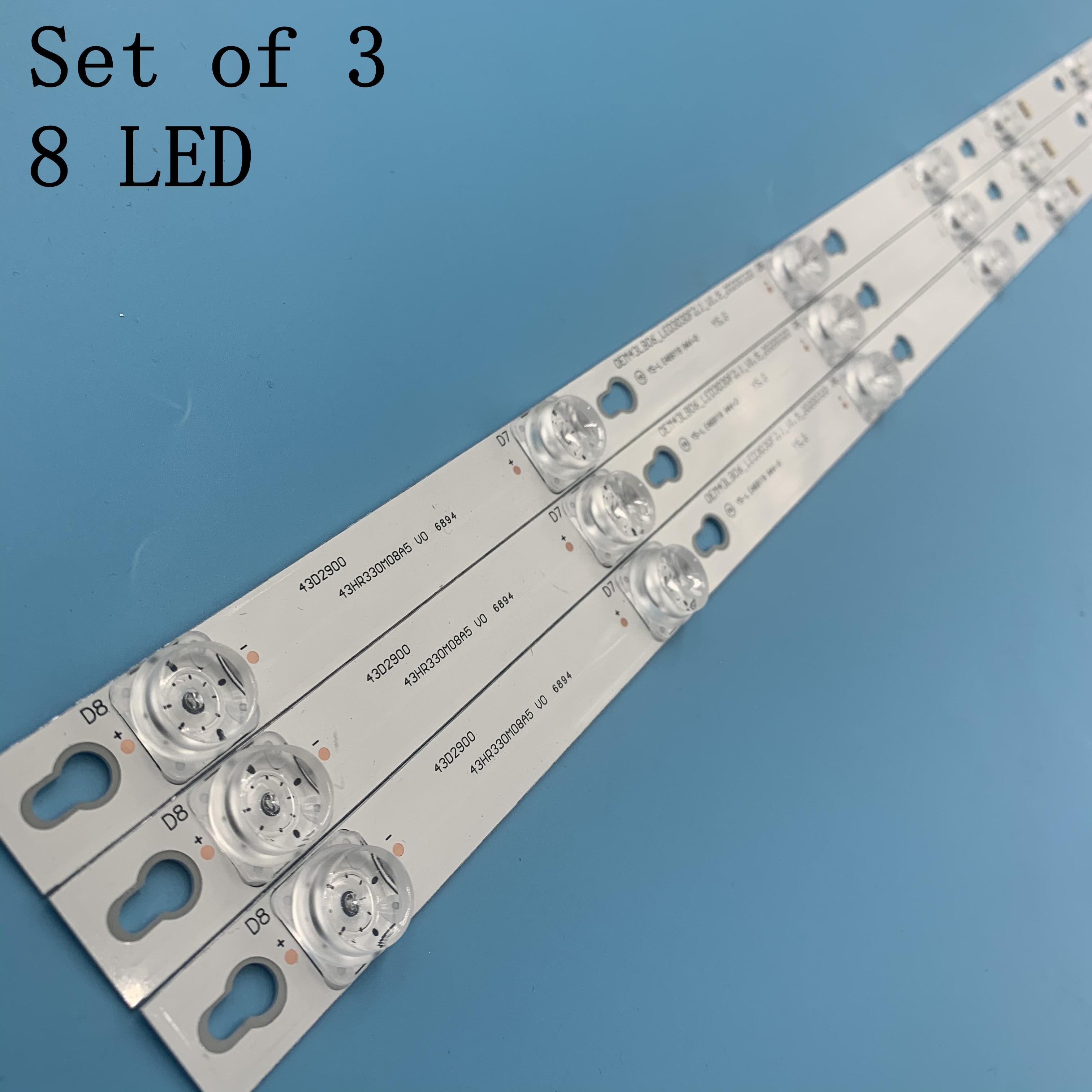 3pcs Backlight LED STRIP TOT_43D2900_3X8_3030C_d6t-2d1_4S1PX2 Rev.V2 TV TCL U43P6046