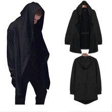 Bonés masculinos com capuz trench masculino casaco casual longo preto estilo gótico feiticeiro manto outwear jaqueta topos masculino streetwear mais tamanhos