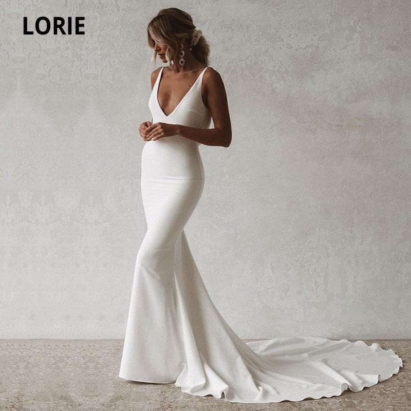 LORIE-فستان زفاف بتصميم حورية البحر ، على الطراز البوهيمي ، مثير ، ياقة على شكل v ، ظهر مفتوح ، مرن ، بسيط ، قطار طويل ، أزرار ، 2021