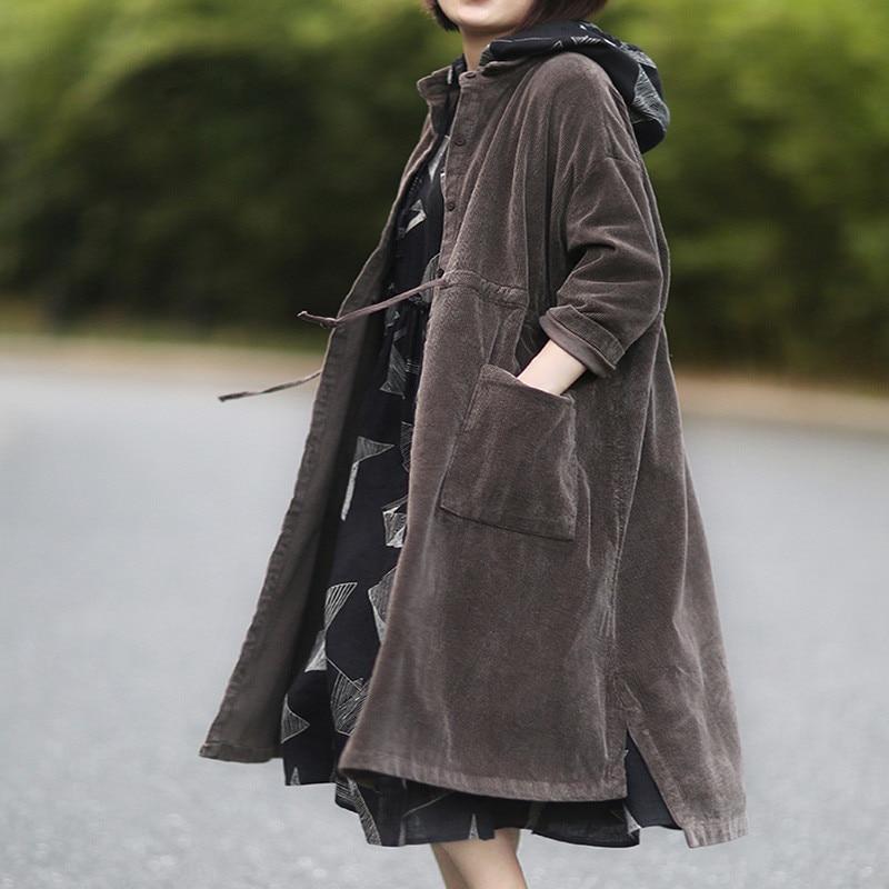 الخريف الشتاء الإناث الأدب الفن Vintage سترة واقية فضفاضة حجم كبير منتصف طويلة سروال قصير الرباط خندق معطف المرأة أبلى