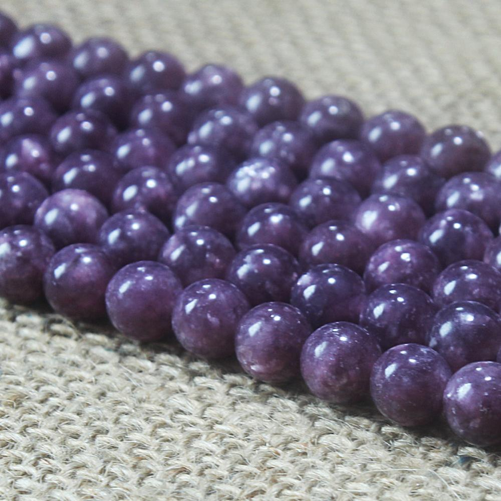 Natural Round AA Purple Lepidolite Gemstone Loose Beads 4 6 8 10 12 14mm For Necklace Bracelet DIY Jewelry Making 15inch Strand