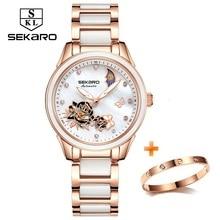 Sekaro 2020 Ceramic Women Watch Butterfly Design Ladies Mechanical Automatic Watches Luxury Brand Sapphire Crystal Womens Watch