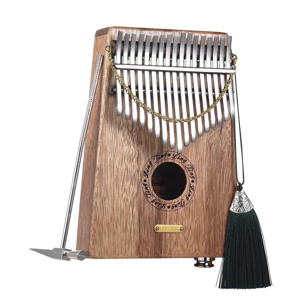 Piano portátil Kalimba Mbira Swartizia Spp de madera maciza incorporado LINGTING K17SEQ 17-key