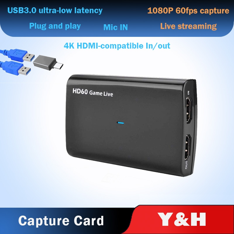 4K 30HZ Loop Out HDMI-compatible to USB 3.0 1080P 60FPS Video Capture Card Grabber For XBOX PS4 Game Camera Live Streaming audio video capture card 4k hdmi to usb 3 0 capture card 1080p 60fps live streaming game recorder device for ps4