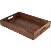 Black Walnut Handmade Wooden Food Tea Tray Restaurant Serving Tray Rectangle Wood Tray Plate Are Easy Use Plate Cake Tray Storag