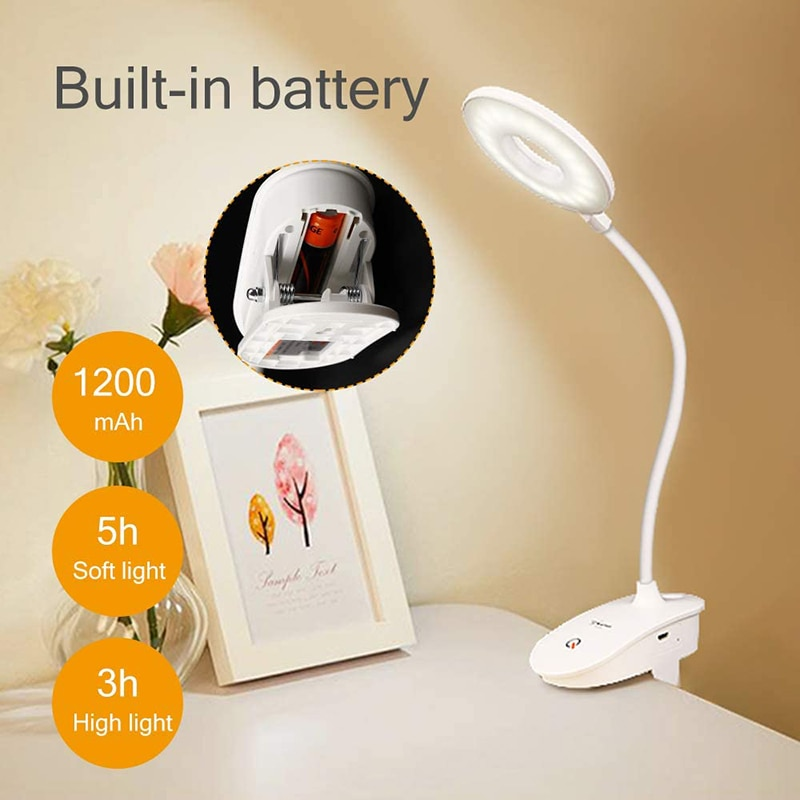 Touch Sensor LED Desk Lamp Flexible USB Rechargeable Clip On Table Lamp Bed Piano Study Work Reading Light 3 Brightness Dimmable