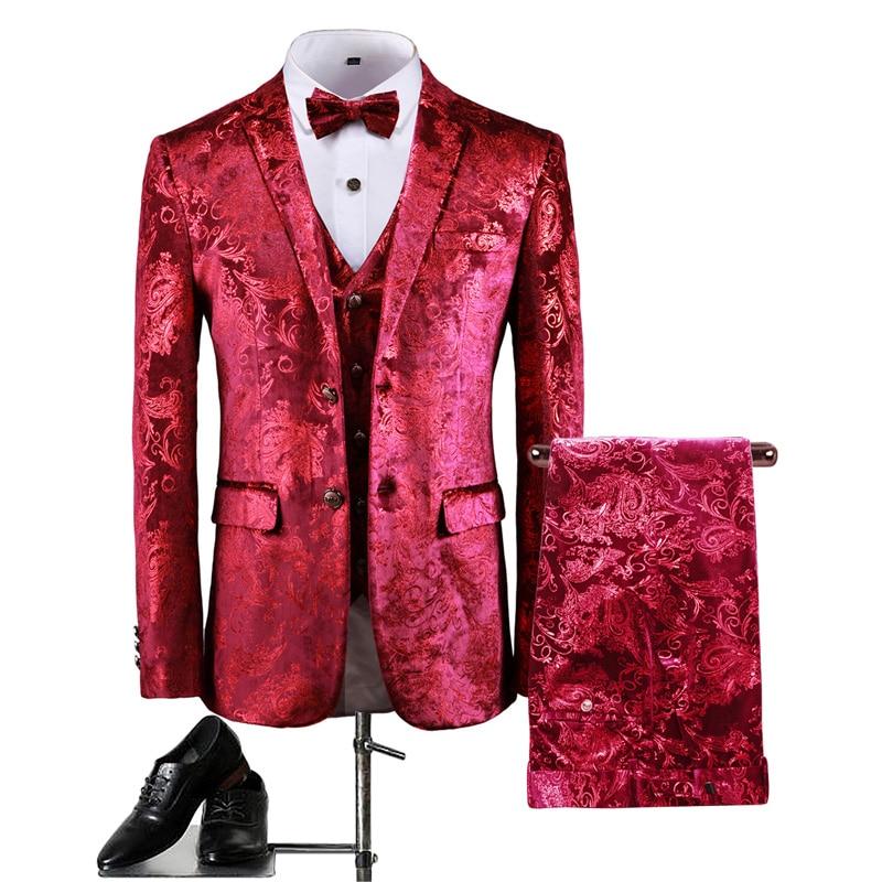 بدلة سهرة رجالية فاخرة من 3 قطع ، بيزلي ذهبي ، بدلة زفاف ، بدلة زفاف مخملية ، مناسبة للجسم ، حفلة موسيقية