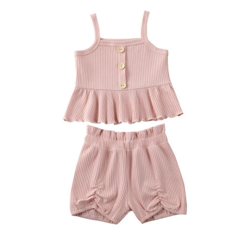 2020 verano bebé Infante niñas conjunto de ropa informal de rayas sólidas Mini vestido Tops + Pantalones cortos 2 uds niñas dulces traje rosa