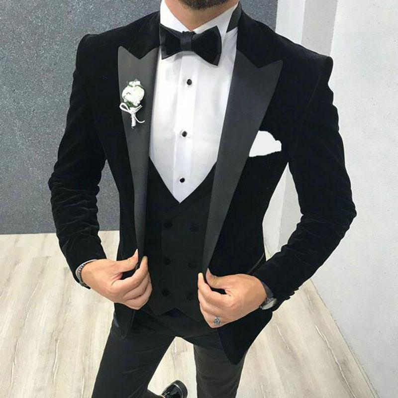 Latest Peaked Lapel Design Black Velvet Men Suits For Wedding Smoking  Jacket Groom Tuxedo Terno Masculino 3Piece Costume Homme
