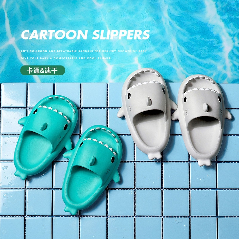 2021 Summer Funny Slippers Cute Shark-shaped Home Non-slip Boys Kids Slippers Toddler Girls Shoes Blue Pink Beach Shoes