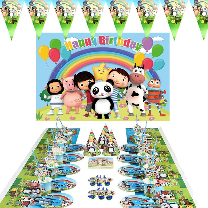 Little Baby Bum Theme Kids Birthday Party Decoration Paper Cups Plates Napkins Cake Flag Tablecloth Baby Shower Party Supplies 40pcs unicorn paper plates large 23cm plates baby shower bbq summer party decor birthday party paper plates wedding decoration
