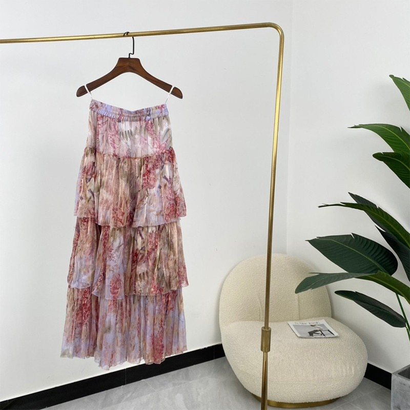 Top Quality 100% Silk Floral Print A-line Tiered High Waist Ankle Length Skirts Women Fashion New Summer 2021