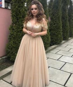 2020 Gold Prom Dress Short Sleeve Tulle Shinning Squins vestido de noche largo elegante 2020  party gowns for womens Charming