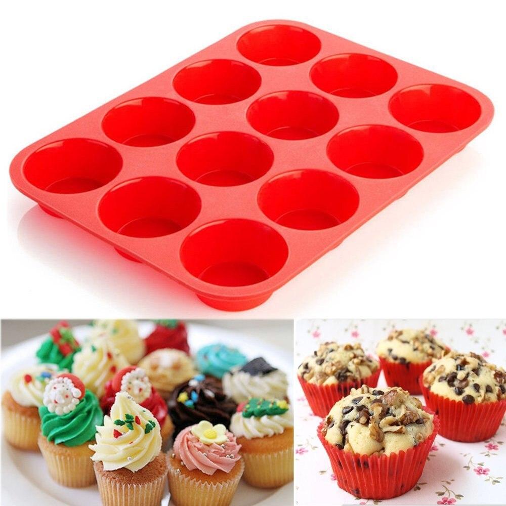 12 Cup Silicone Muffin Cupcake Baking Pan Non Stick Dishwasher Microwave Safe Bakeware Mini Muffin Cake Baking Pan Pastry Tool 4