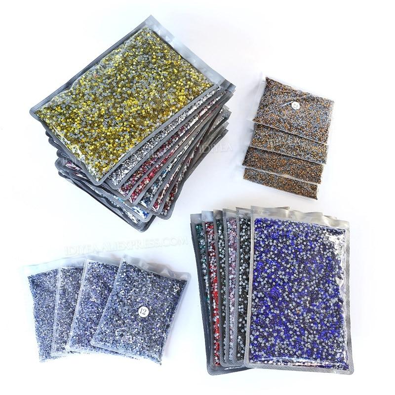 Большая посылка оптом 14400 шт. ss16 ss20 стразы горячей фиксации плоская задняя кристалл страз блестящие камни для DIY ткани одежды