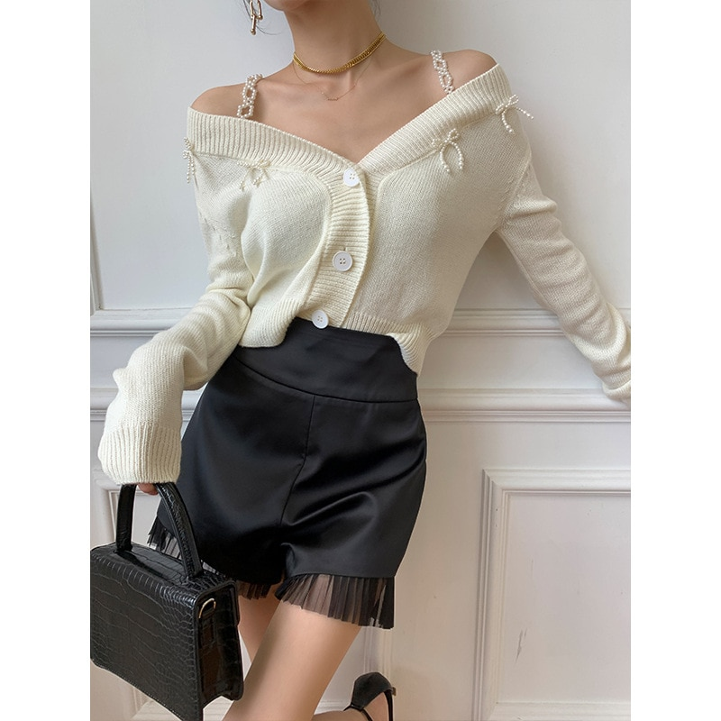 Womens Loose Fit suspender Knitted Long-Sleeve V Neck Office Lady Solid Color Bow embellishment Knitted Tops enlarge