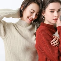 autumn and winter new thick cashmere sweater sweater knit bottoming shirt wild short ladies sweater loose top