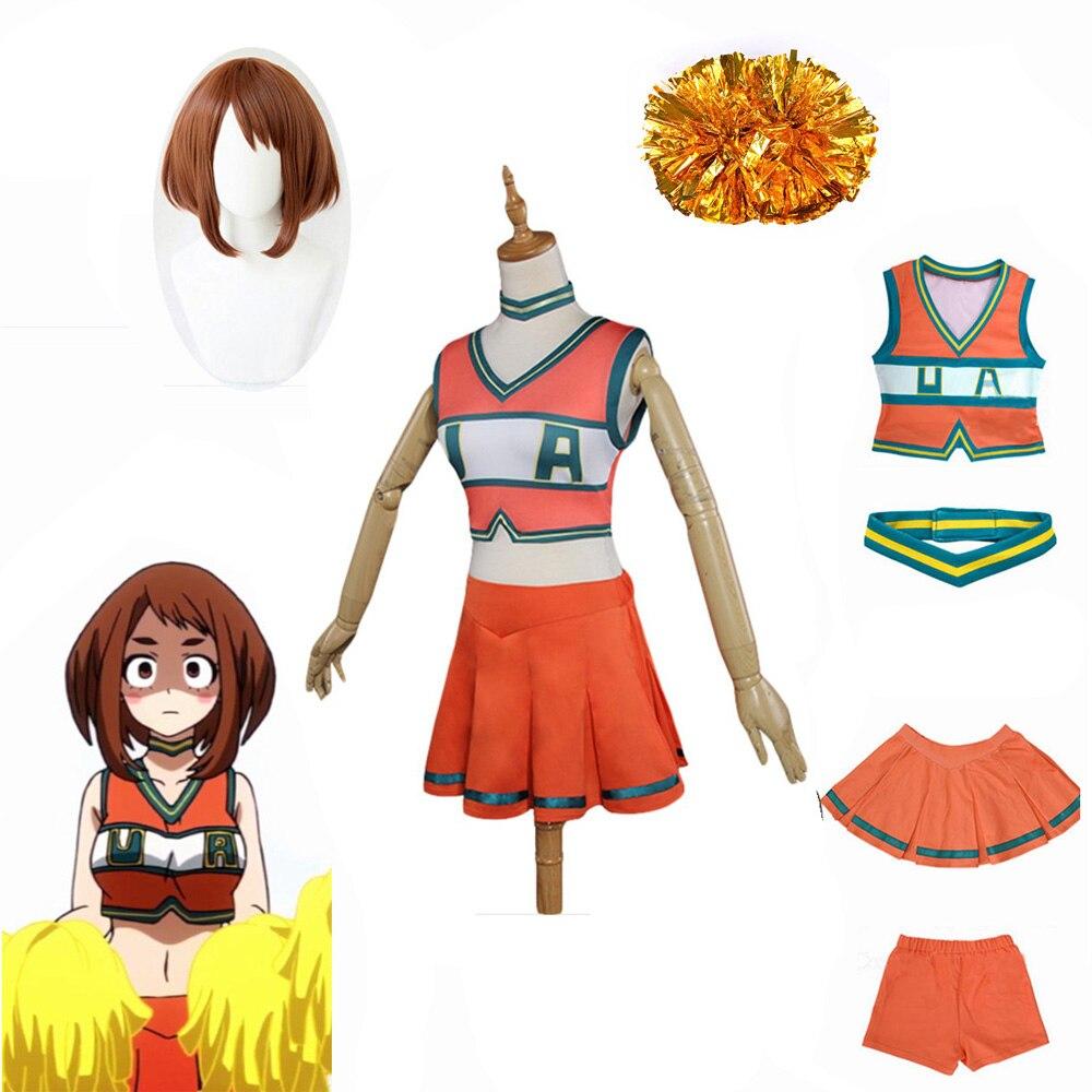 Аниме My Hero Academia, униформа Черлидинга Ochako Tsuyu bnha, аниме, карнавальный костюм, униформа для девочек, костюм на Хэллоуин