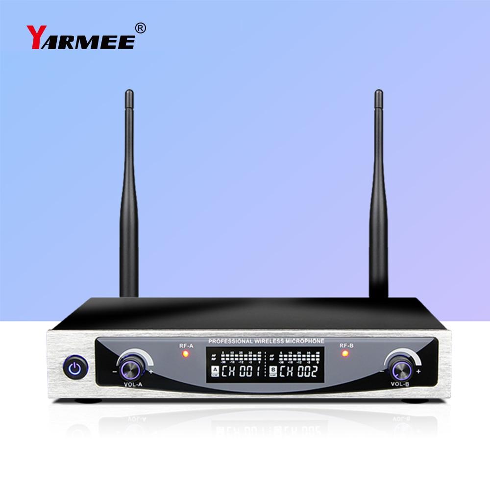 YARMEE Professional UHF Dual Channel Wireless Karaoke Microphone Dynamic Mic Core For KTV Singing Meeting Party Outdoor YU52 enlarge