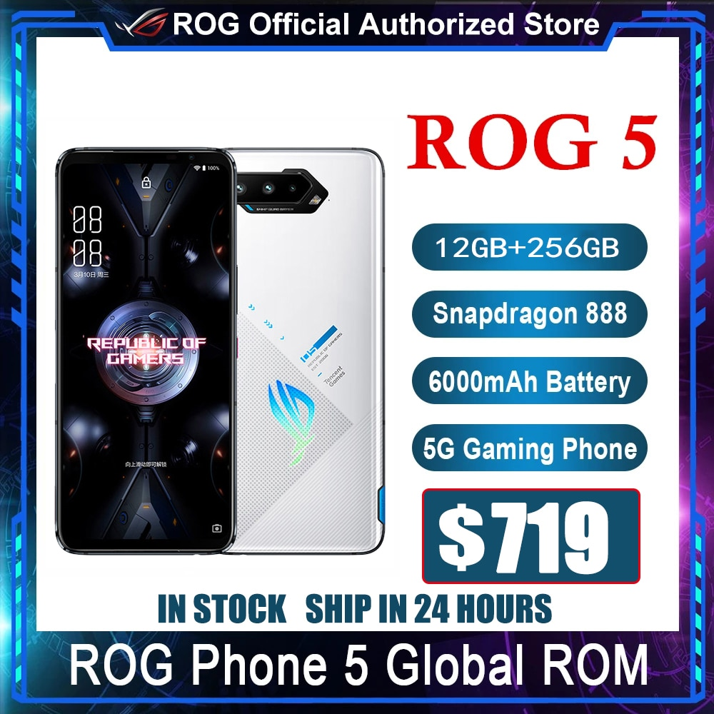 Get Official Original Asus ROG 5 5G Gaming Phone Snapdragon 888 144Hz 65W Hyper Charge 6000mAh 64MP NFC 12GB 256GB Smartphone