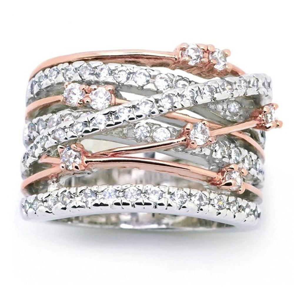 Anillos de boda rellenos de circonita de cristal geométrico con anillo de separación de Color con diseño de Cruz X a la moda para mujer