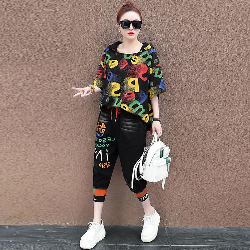 Conjunto de dos piezas, Sudadera con capucha para mujer, Pullover, traje de verano, pantalón vaquero rasgado, pantalones de corredor destruidos, sudadera, conjunto de 2 piezas Hip Hop