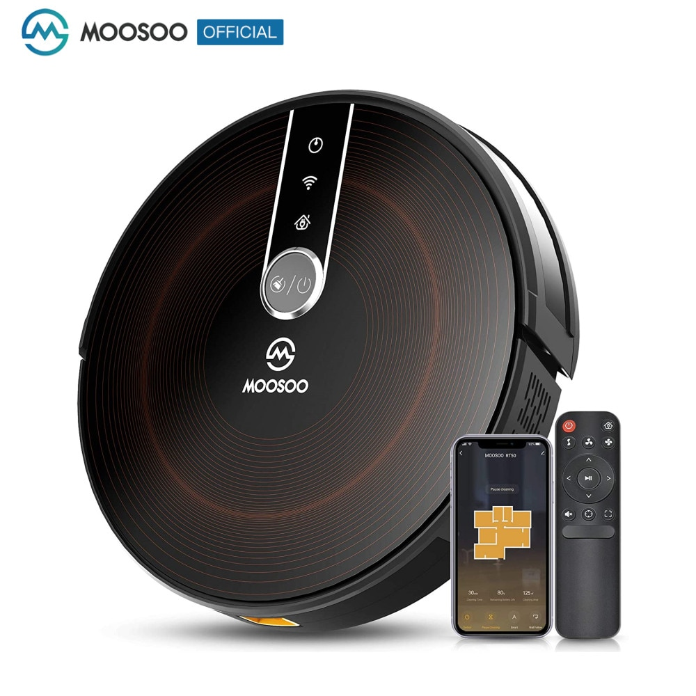 MOOSOO روبوت فراغ 2200Pa شفط قوي هادئ ذكي واي فاي جهاز آلي لتنظيف الأتربة ، فراغ الروبوتية رقيقة جدا مع الشحن الذاتي