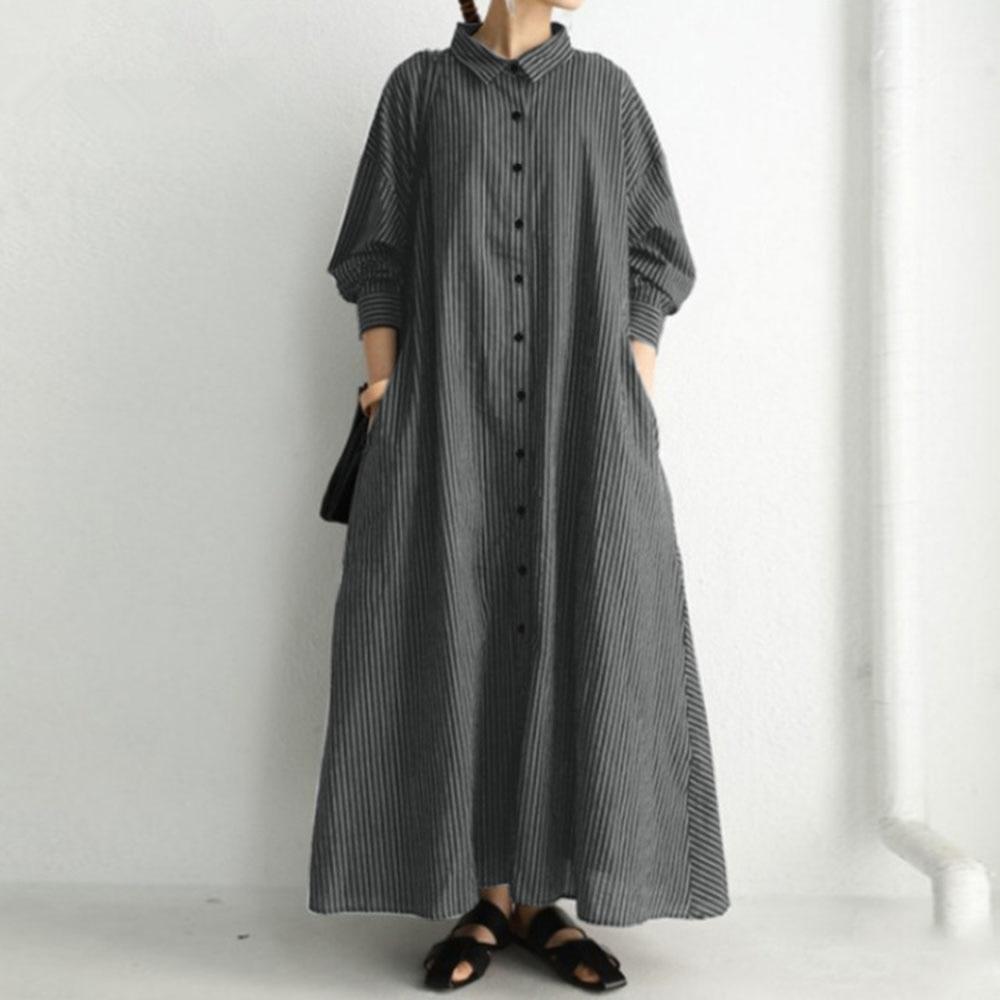 Autumn 2021 Japanese Style Stripe Lapel Long Sleeve Simplicity Casual Women's Dress Loose Fashion Si
