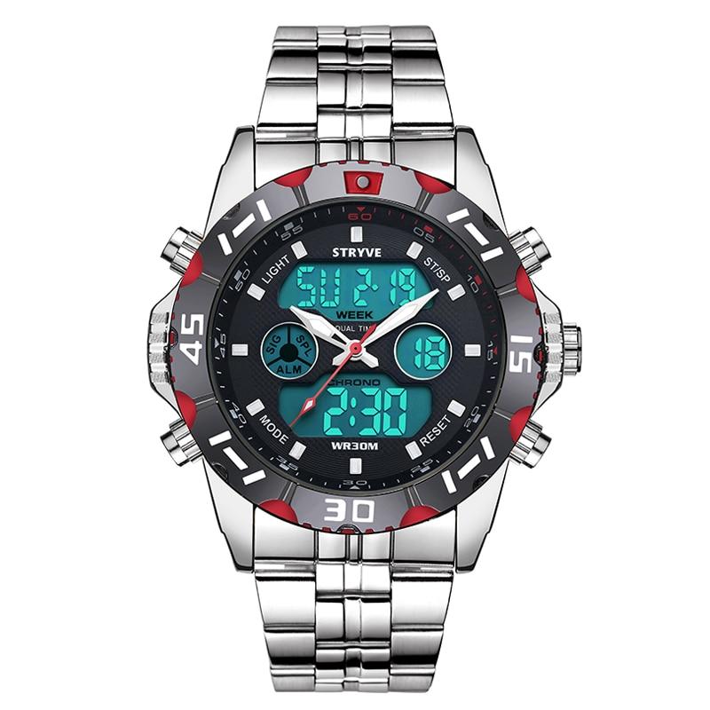 Top Brand Waterproof Business Sport Watches Men Luxury Stainless Steel Digital Pointer Dual Display Quartz Wristwatch Relojes