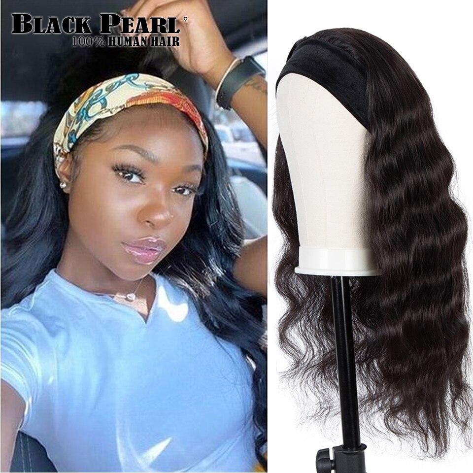 Black Pearl Body Wave Headband Wig Human Hair Easy Half Wig Brazilian Remy Hair Headband Wig Natural Hair Machine Wig