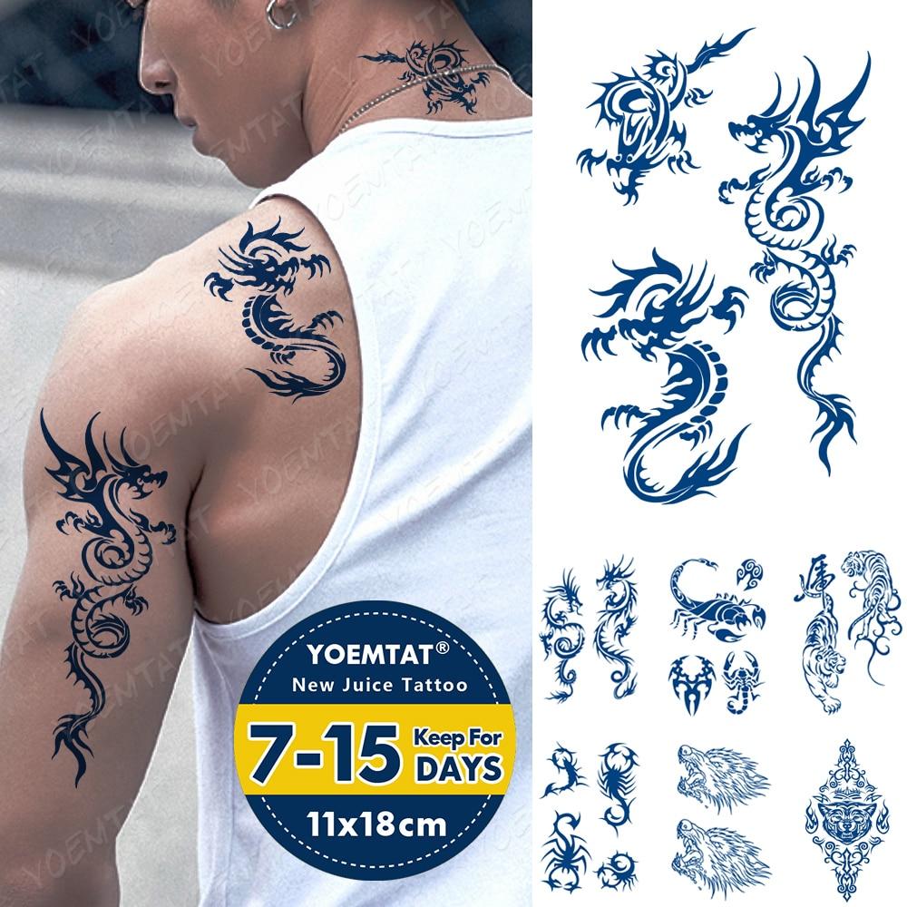 Juice Ink Tattoos Body Art Lasting Waterproof Temporary Tattoo Sticker Dragon Scorpion Tatoo Tiger Wolf Arm Fake Tatto Women Men