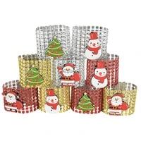 5pcs christmas napkin buckles rhinestone tape xmas decoration santa claus snowman napkin rings holder christmas party supplies