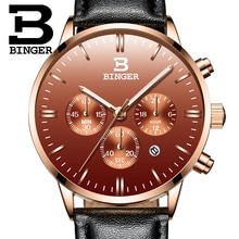 Мужские наручные часы BINGER, спортивные Кварцевые водонепроницаемые часы с датой, уникальный бренд класса люкс