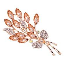 Broches de mode élégantes femmes pour femmes fleur et coeur Design strass plaqué or broches bijoux de luxe