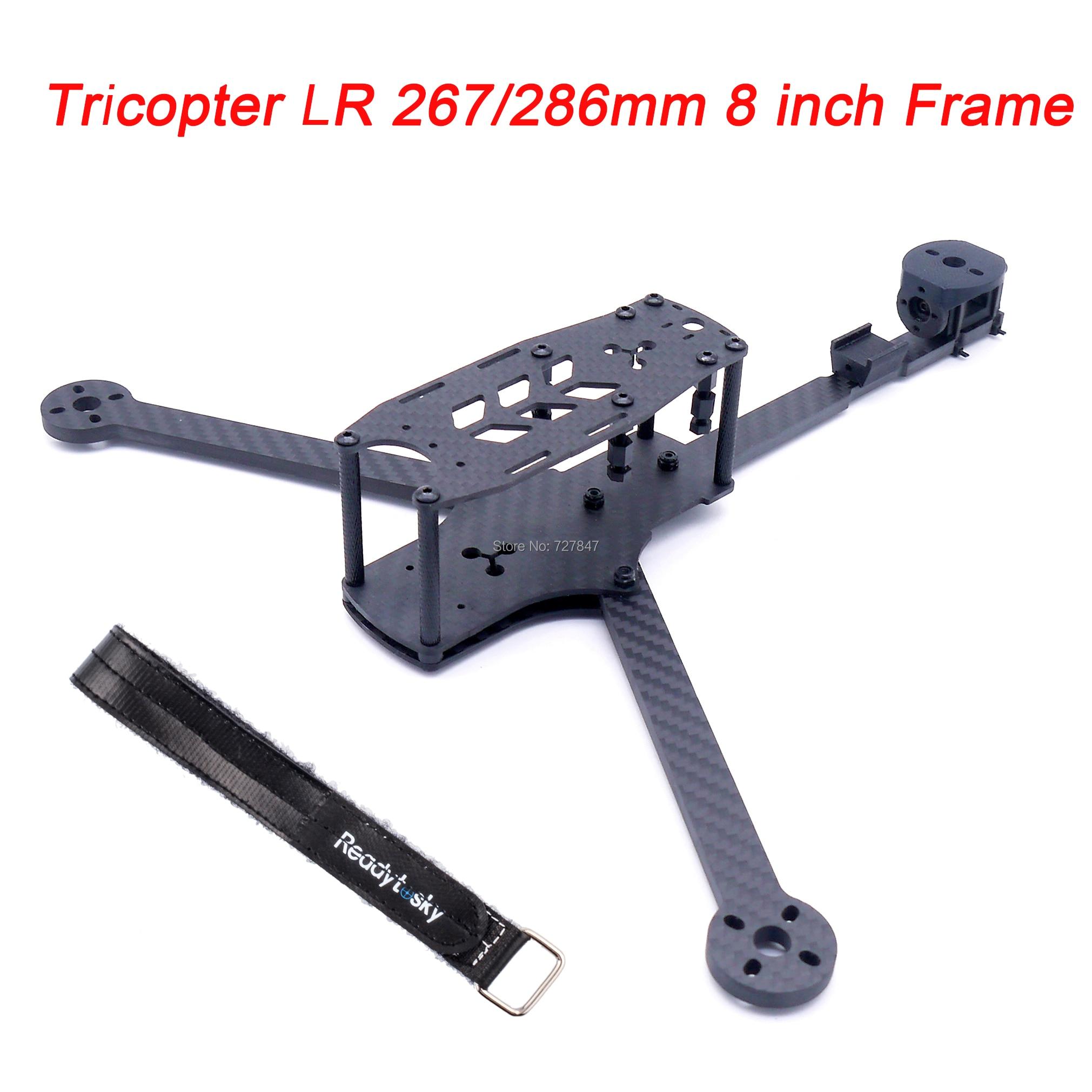 Novo tricopter lr 267 / 286mm 8 polegada 3 eixos y tipo puro quadro de fibra carbono com 5mm braço para rc fpv racing drone