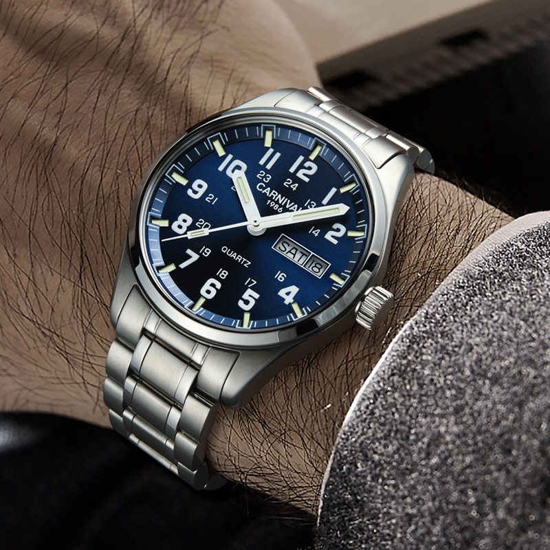 Top Luxury Brand CARNIVAL 316 Stainless Steel Strap Men Watches Men Sports Clock Waterproof Luminous Auto Date Men Quartz Watch