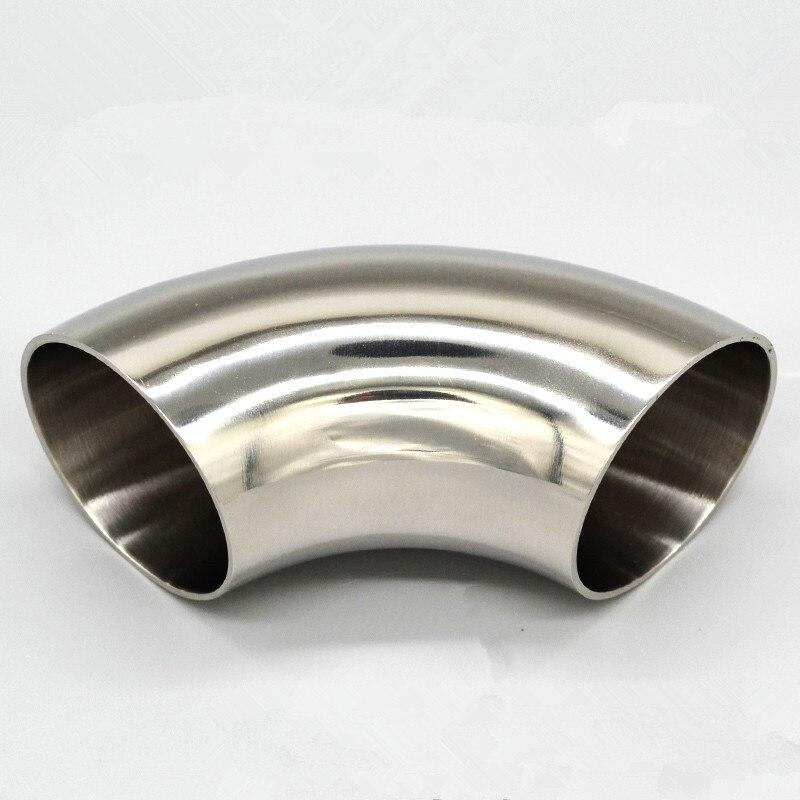 45mm OD 304 codo de acero inoxidable 90 grados soldadura sanitaria codo conexiones de tubería pulido grado alimenticio