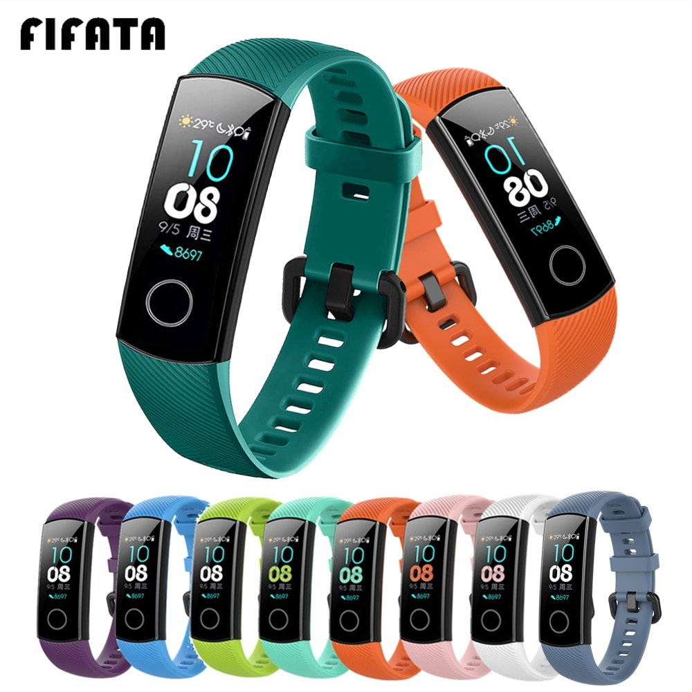 FIFATA Silicone Watch Strap For Honor Band 4 5 Wristbands Accessories Replacement Sport Strap For Hu