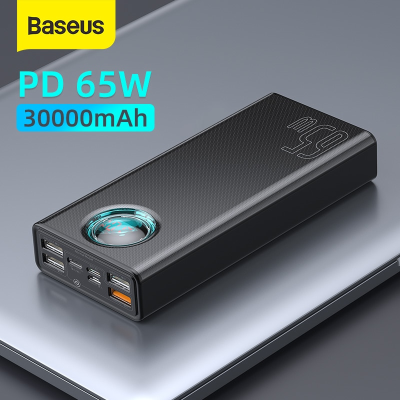 Baseus 65W Power Bank 30000mAh PD Quick Charging FCP SCP Powerbank Portable External Charger For Sma
