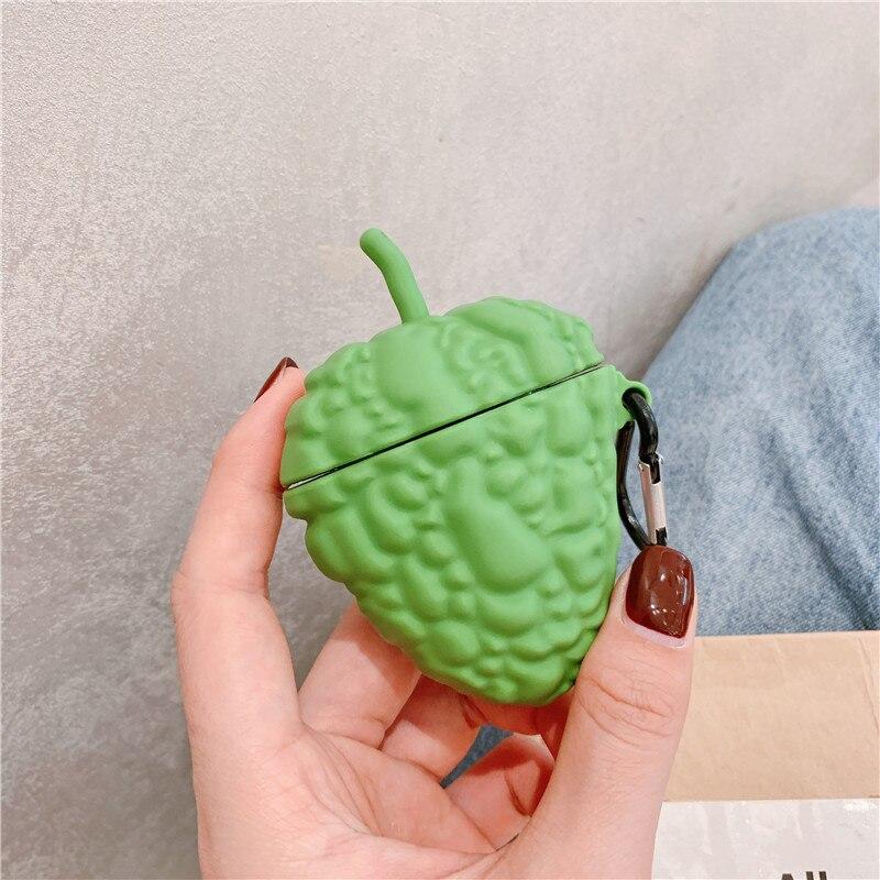 Simulación de calabaza de melón amargo momordica charantia verde vegetal bluetooth funda de auriculares inalámbrica para apple airpods 1/2