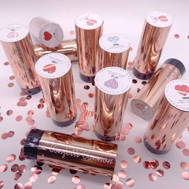 50pcs Metallic Rose Gold Confetti Party Popper Cannons Handheld Fireworks Wedding Party Christmas Birthday New Year Celebration