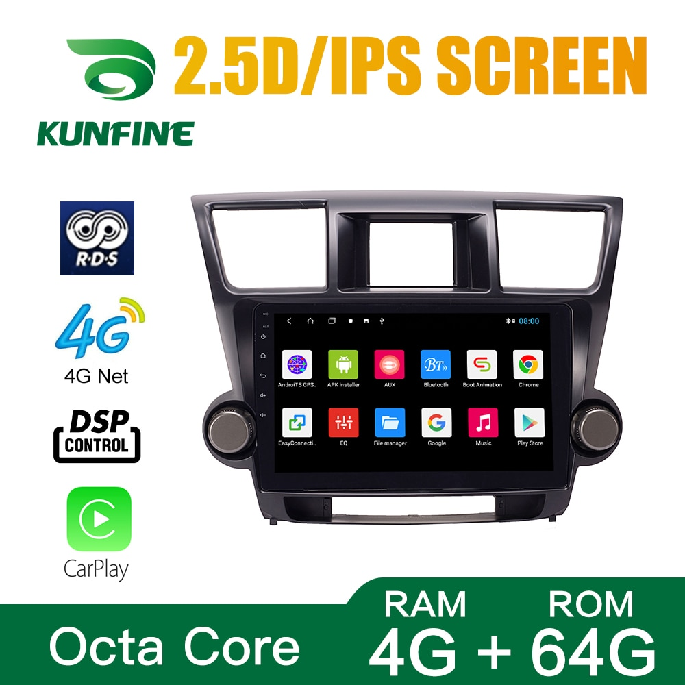 Octa Core 1024*600 Android 10,0 navegación GPS con DVD para coche REPRODUCTOR DE Deckless estéreo de coche para Toyota Highlander 2009-13 Radio Unidad Principal
