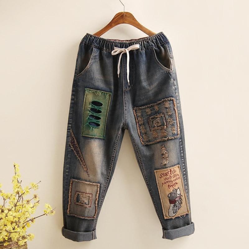 Primavera otoño mujer Jeans Casual suelta alta cintura Patchwork Denim Pantalones Vintage Harem pantalón Calca Jeans Feminina P273