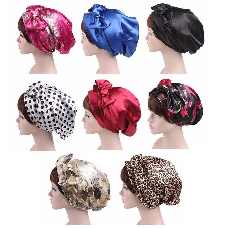 Gorros de seda suaves ajustables de 58cm para el pelo para mujer, gorro de ducha para dormir de noche, gorro largo para el cuidado del cabello, accesorios para la cabeza