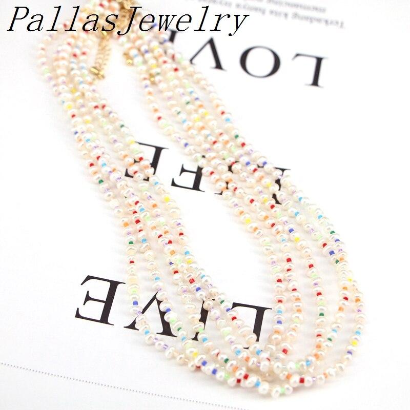 5 uds gargantilla de perlas para mujeres collar de arcoíris con cuentas joyería de moda 2020 Boho alta calidad ajustable collares