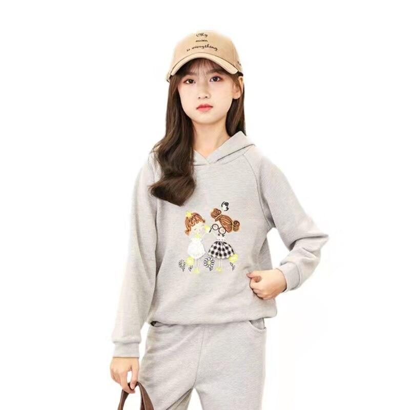 Girls Sport Sets Fashion Cotton Print Teen Girls Coat +  Pants 2 Pcs Spring Autumn Pullover Hooded Cartoon Girl Suit  10 14 Year