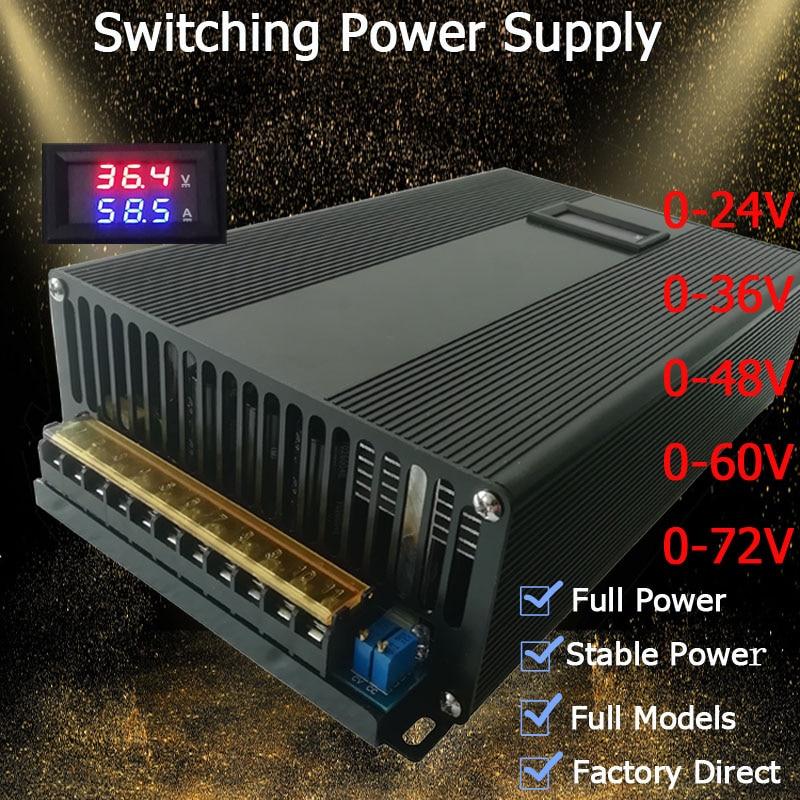 تحويل مزود الطاقة الرقمي ، 2000 واط ، تيار متردد ، تيار مستمر 0-24 فولت ، 36 فولت ، 48 فولت ، 55 فولت ، 60 فولت ، 72 فولت ، منظم ضوء Led ، محول متدرج SMPS