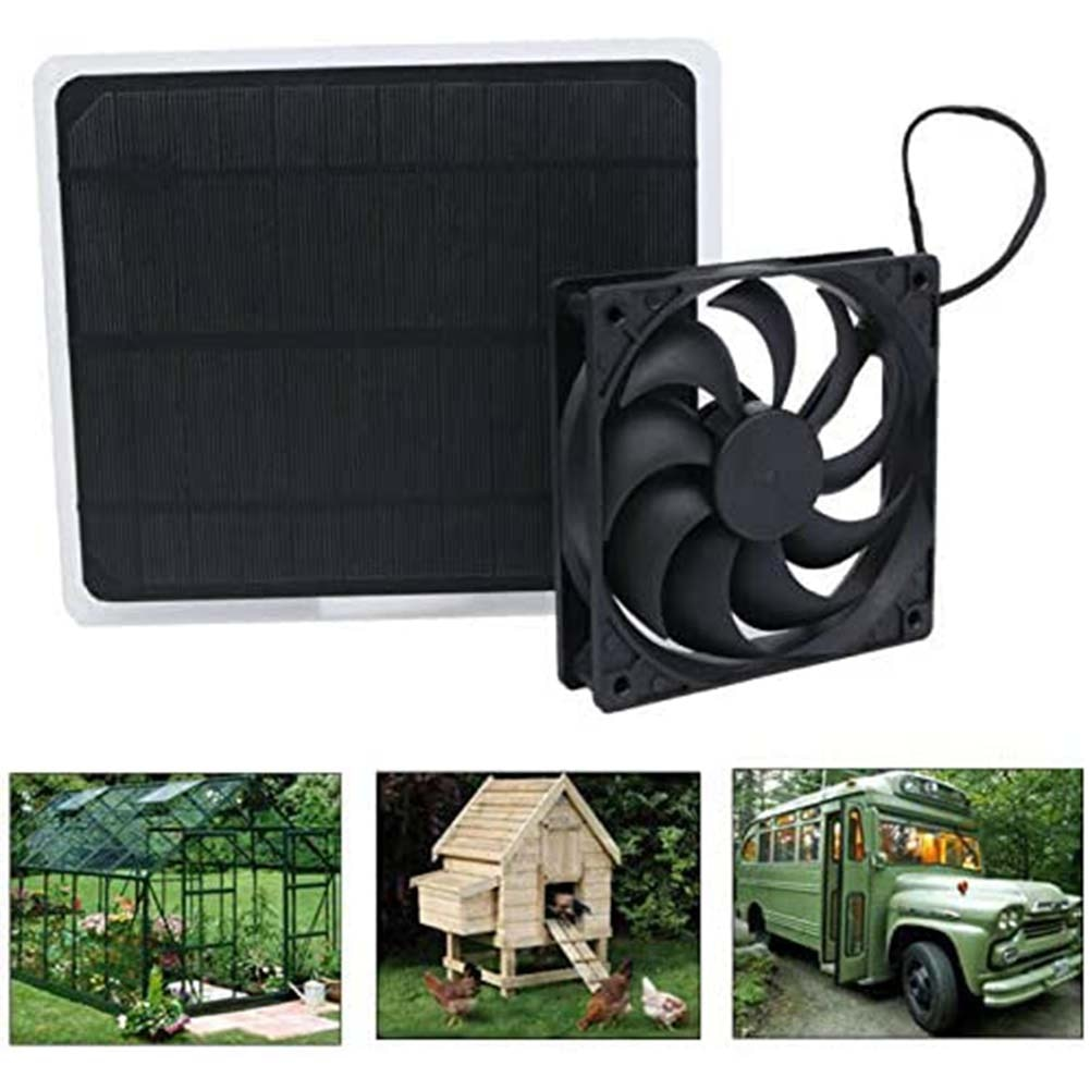 10W 12V Solar Panel Powered Fan Mini Ventilator Exhaust  USB For Dog Chicken House Greenhouse RV Car Charger