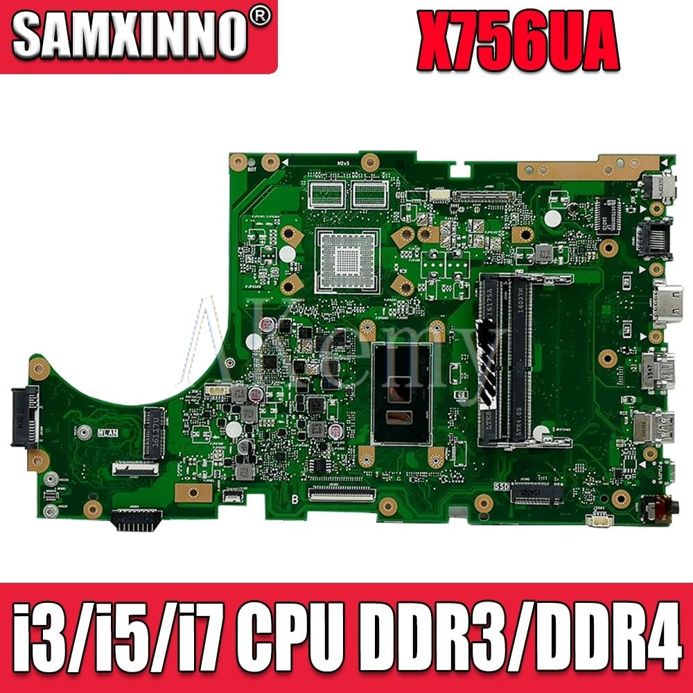 ل For Asus X756UA X756UAK X756UAM X756UV X756UJ X756UQK X756UVK Loptop اللوحة الرئيسية Mian مجلس Mianboard ث/i3/i5/i7 CPU